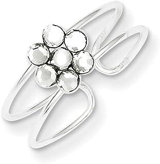 Lex & Lu Sterling Silver CZ Flower Toe Ring