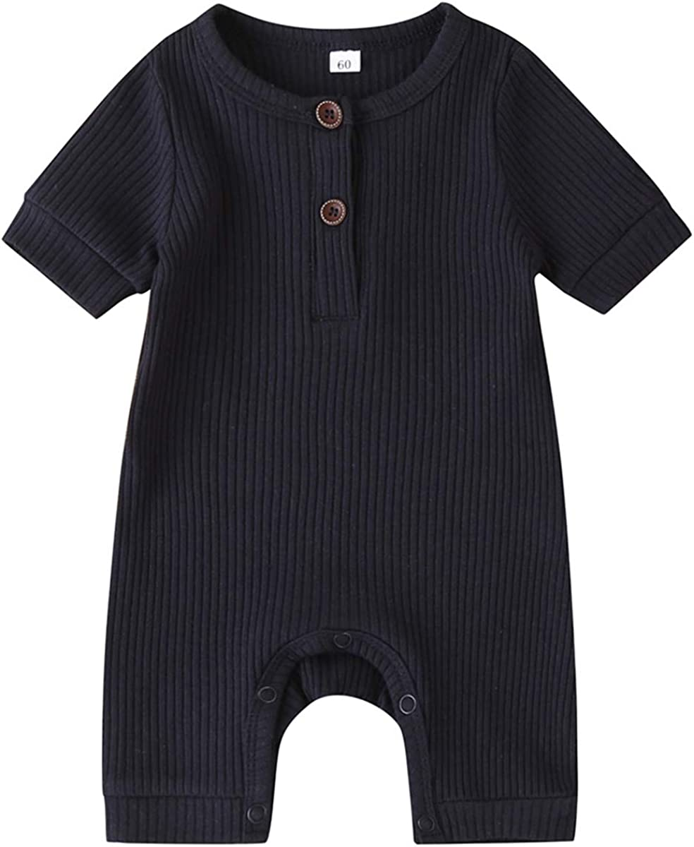 Kayotuas Newborn Baby Boy Girl Solid Bodysuit Under blast sales sale Plai Romper Ribbed