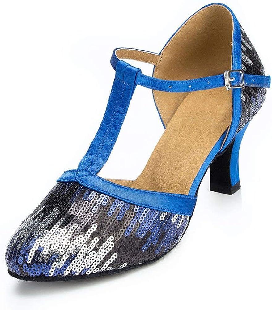 Misu Women's It is very popular Award Sparkly Sequin 1920s Party Shoes Strap Wedding La T