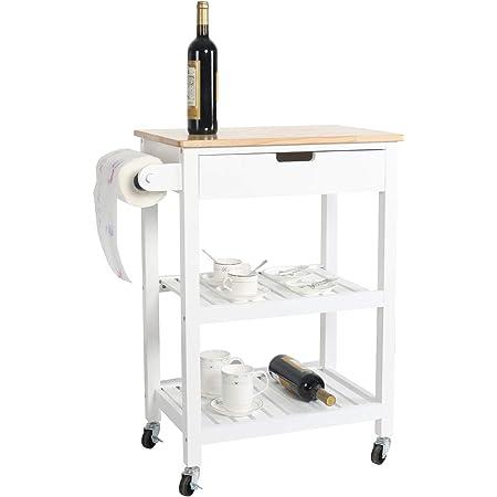 "White Wood Veneer Rolling Cart Kitchen Storage Island 34/""x22/""x16/""-1260396"