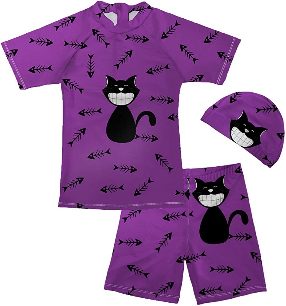 UNICEU Cartoon Cat Pattern Swimsuits for Little Boys Pool Party Swimwear Bathing Suit Age 5-14 Years