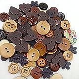 ROSENICE Bottoni in Legno Colorati Decorativi 2 Fori Forma di Cuore Fiore Rotondi Misto 40g