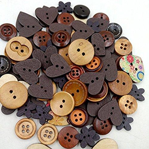 Toyvian Bottoni Legno Natale Forma Fiori Cuore Rotondi 40g (caffè)