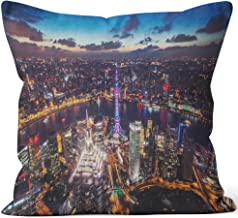 Nine City Aerial View of Shanghai at Night Throw Pillow Cover,HD Printing for Sofa Couch Car Bedroom Living Room Decor,28