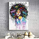 ganlanshu Moderne Graffiti-Leinwandmalerei abstrakte afrikanische Mädchenplakat- und...