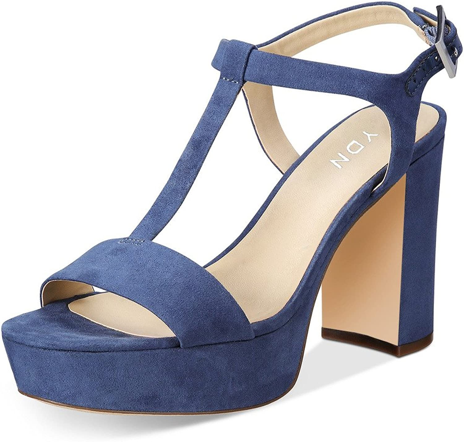 YDN Women Chunky Heel T-Straps Sandals Platfrom Suede Open Toe Comfy shoes