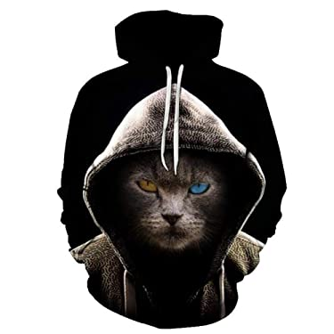 YQGOO 3D Sweater Hoodies with Animal Print Animal Print Hooded Abstract 3D Vintage Undefined Casual Gray Anime Hoodie
