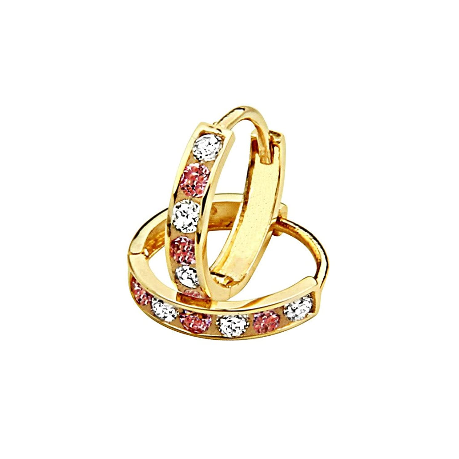 14k Yellow Gold 2mm Thickness Multi Color CZ Channel Set Hoop Huggie Earrings (11 x 11 mm)