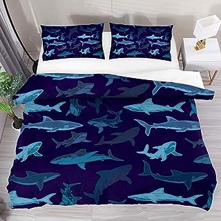 jonycm Juego De Colchas Azul Marino Sea Shark Pattern Swimming 3Pcs Edredón Moderno con 2 Fundas De Almohada 1 Funda Nórdica Personalizar Juego De Cama Colcha Juego De Funda Nórdica 177X218Cm
