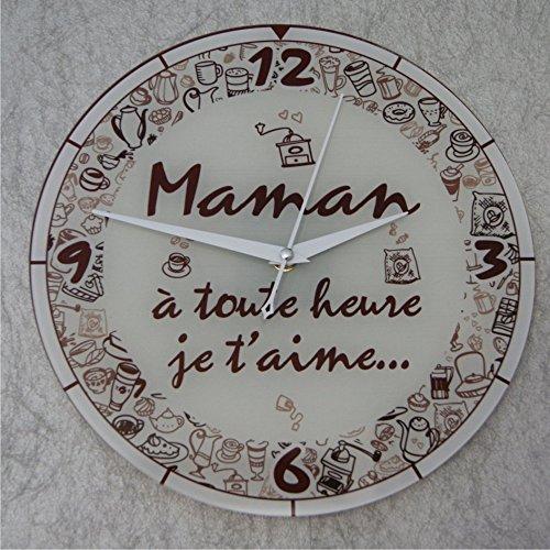 Horloge Je t'aime Maman – Cadeau pour la fête des Mères, Noël, Anniversaire, Naissance.