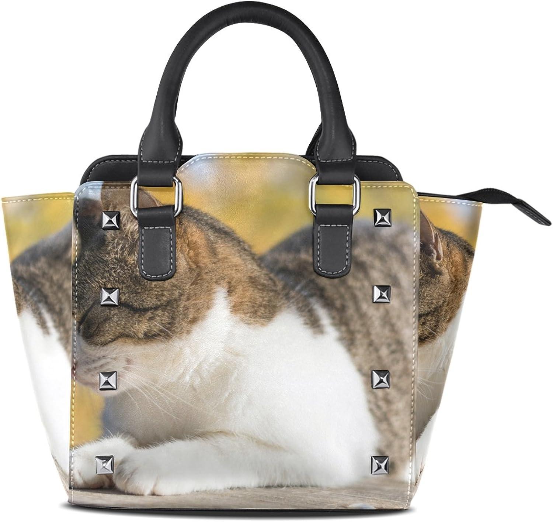 My Little Nest Women's Top Handle Satchel Handbag Cat Enjoy Sun Ladies PU Leather Shoulder Bag Crossbody Bag