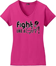 Fight Like a Girl Signature Breast Cancer T-Shirt Ladies V-Neck Hot Pink