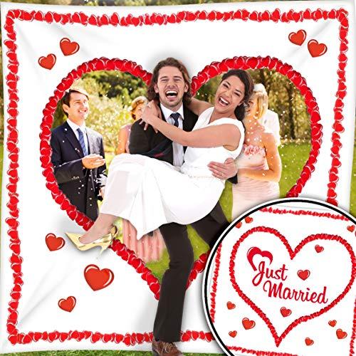 Hochzeitsherz Ausschneiden Set - Stofflaken Herzmotiv & Schlaufen zum Straffhalten INKL. 2 Nagelscheren + Glückwunschkarte - Hochzeitsspiele und Hochzeitsbräuche - Braut & Bräutigam schneiden das Herz aus und schreiten in die gemeinsame Zukunft