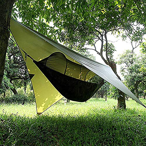 Zhuowei Camping Hammock Outdoor with Mosquito Net And Waterproof Tarpaulin Ultralight Breathable Quick Drying Parachute Nylon Hammock Camping Survival Field Set,1