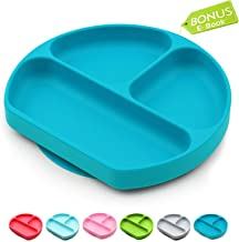 Baby Dröm Suction Plates for Toddlers | Divided Silicone Baby Plate | All in 1 Toddler Plates and Bowls Fits Most Highchair Trays | Silicone Placemats for Babies | 8
