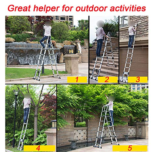 Aluminum Telescopic Extension Ladder 16.5ft, A-Frame Lightweight Portable Multi-Purpose Folding Ladder for Outdoor Indoor, 330 Pound Capacity
