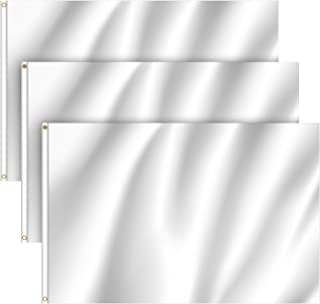 FEPITO 3 Pack 3 X 5 Ft Solid White Flag Blank Flag DIY Flag Banner Plain White Flag with Brass Grommets for Patio Garden Y...