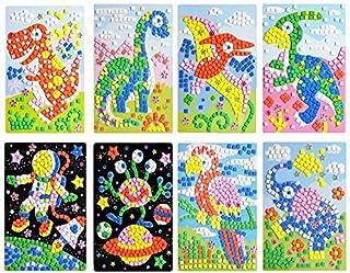 CCINEE Mosaic Sticker DIY Handmade Art Crafts Kits Christmas New Year Gifts for Kids Elephant Parrot Astronaut Dinosaurs 8...