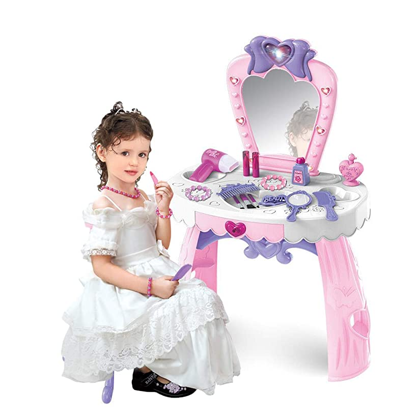 Vanity Beauty Dresser Table for Girls, 23 pcs Fashion & Makeup Accessories with Hand Mirror, Hair Dryer, Brush, Comb for Children 1-3 Years Old (Pink)