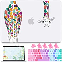 Mektron MacBook Air 11 inch Case A1370 A1465, Frosted Matte Clear Laptop Cover for MacBook Air 11.6-inch, Colorful Giraffe