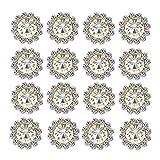 50 pcs Rhinestone Embellishments Crystal Button Silver Flatback DIY Craft for Flower Headband Dress Decoration Accessory 12mm (Silver Back Rhinestone)