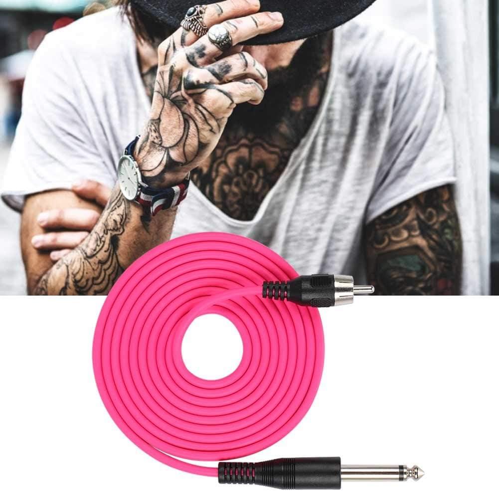 Cable de tatuaje recto, conector RCA recto, para máquina de tatuaje, fuente de alimentación de silicona, cable RCA, cable RCA, cable de máquina de tatuaje, color rojo