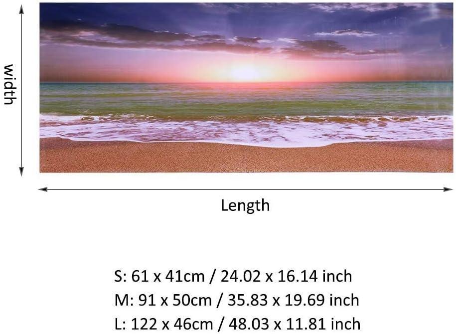 Zerodis Fish Tank Poster 3D Effect Adhesive Beach Sunset Poster Aquarium Backgrounds Decoration