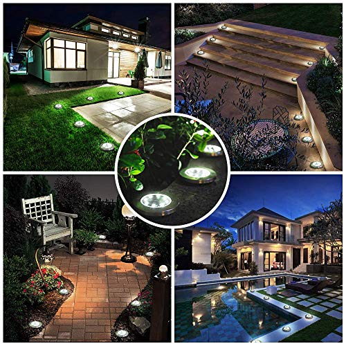 Solar Ground Lights,8 LED Solar Disk Lights Solar Powered In-Ground Lights Outdoor Waterproof for Garden,Patio,Lawn,Pathway,Step Decks- White Lights(12 Pack)