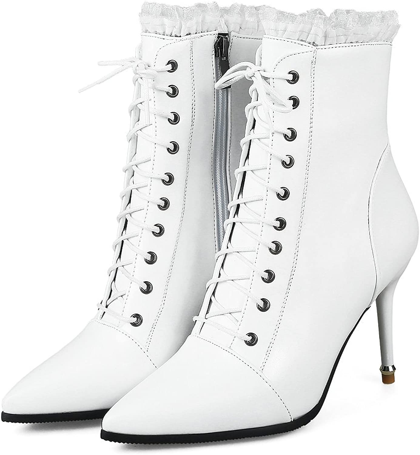 Women Lace Up Stiletto Ankle Boots Spring Dress High Heel Leather Booties Sexy Pointed Toe Black
