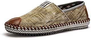 Shangruiqi Driving Loafer for Men Boat Moccasins Slip On Style Canvas Material Personality Stitching Round Toe Anti-Skid (Color : Khaki, Size : 7.5 UK)