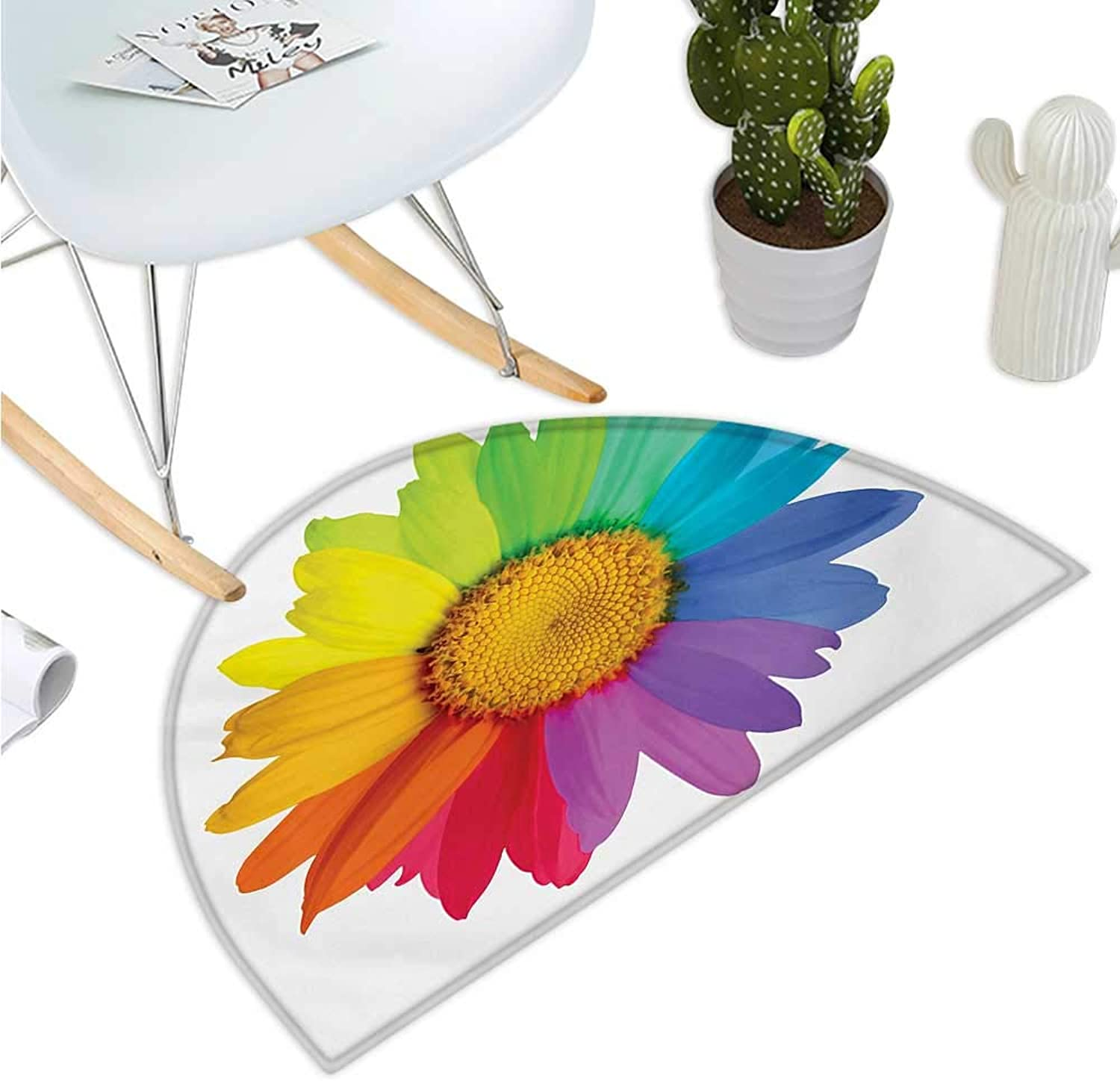 Flower Semicircular Cushion Rainbow colord Sunflower or Daisy Spring Inspired Image Hippie Style Modern Design Entry Door Mat H 43.3  xD 64.9  Multicolor