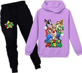 Super Mario Sudadera con capucha de dibujos animados Juego de Bebé Niñas Niños de Ocio Ropa Conjuntos de Niños Sudadera Ro...