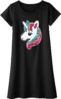 Arshiner Girls Cotton Dress Short & Long Sleeves Casual Summer Flip Sequin Unicorn T-Shirt Dresses Black 4-5T