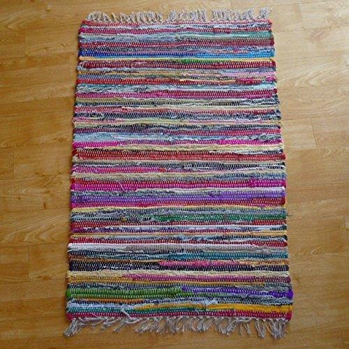 Alfombra de tiras hecha a mano en telar indio en 100% de algodón reciclado, multicolor, tela, multicolor, 100x164
