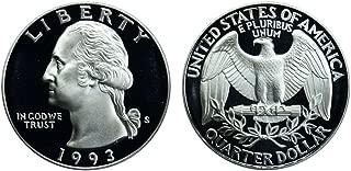 1993 S US Mint Deep Cameo Washington Silver Proof Quarter DCAM