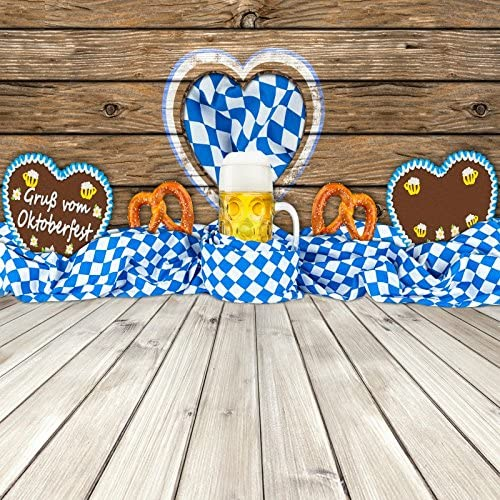 Leowefowa Oktoberfest Backdrop for Photography 10x10ft Cartoon Beer Mugs Pretzels Illustration Yellow Vinyl Background Beerfest Carnival Party Banner Photo Booth Wallpaper