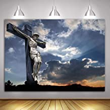 MME 7 x5ft Christian Background Cross Crucifixion Sculpture Background Christian Background for YouTube Documentary Background GEME246