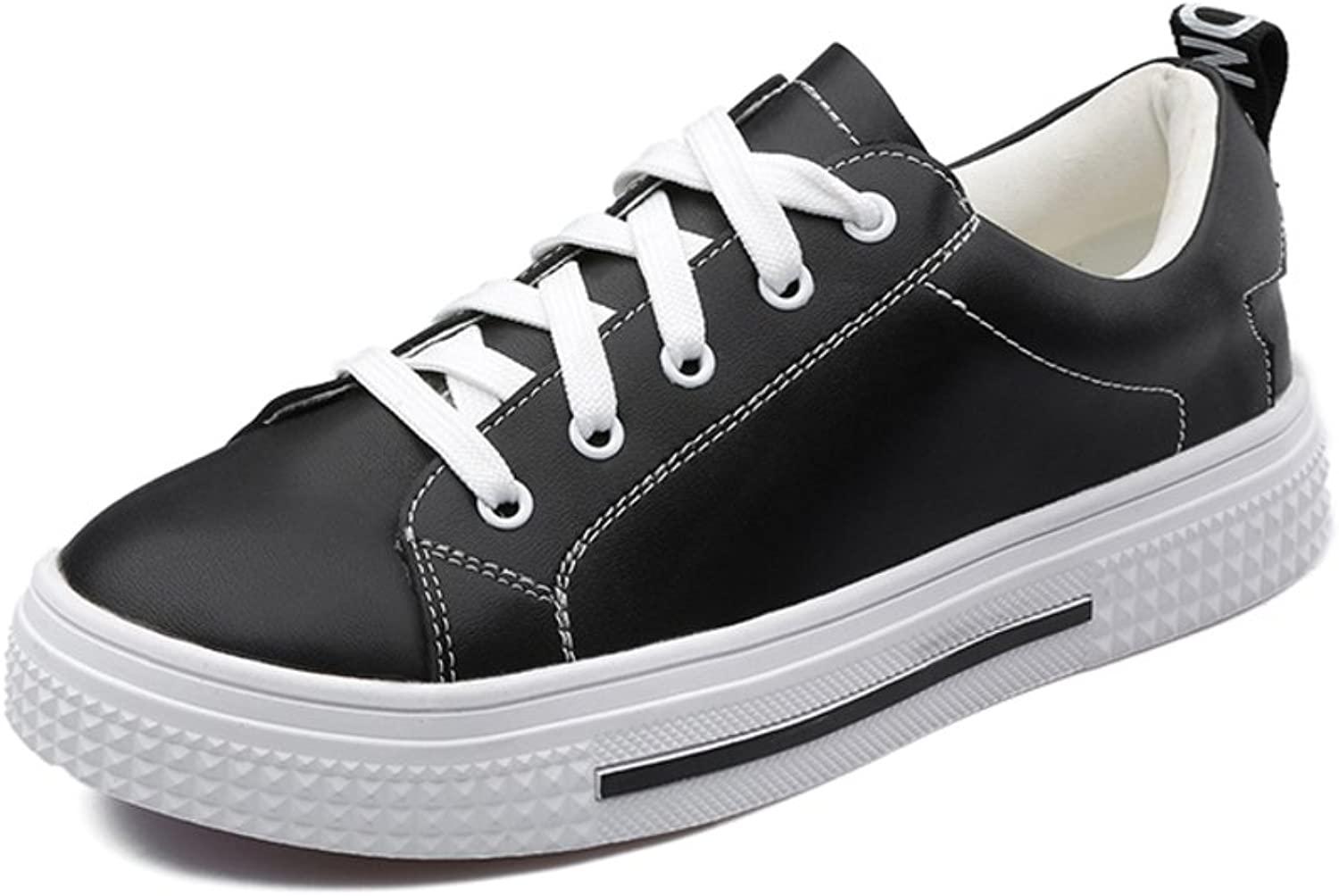 Huhuj First layer of leather lace casual shoes Comfortable flat leather shoes
