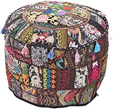 Indian Living Room Pouf, Foot Stool, Round Ottoman Cover Pouf,Traditional Handmade Decorative Patchwork Ottoman Cover Blac...