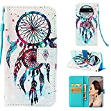 Wallet Case with Black Dual-use Pen for Samsung Galaxy S10,Aoucase Luxury Wrist String 3D Feather Dreamcatcher Painting Card Holder Shock Resistant Soft TPU PU Leather Case for Samsung Galaxy S10