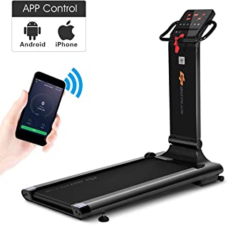 Goplus Electric Folding Treadmill, Free-Install Design, with APP Control and Touch Screen, Adjustable Incline and 90° Folding Running Machine, Perfect for Home use