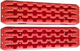CStern Tablero de recuperación Almohadilla Placa Antideslizante Alfombrillas de tracción de recuperación 2 Pcs Rojo para Llantas del vehículo Todoterreno para Hielo, Barro, Arena, Nieve
