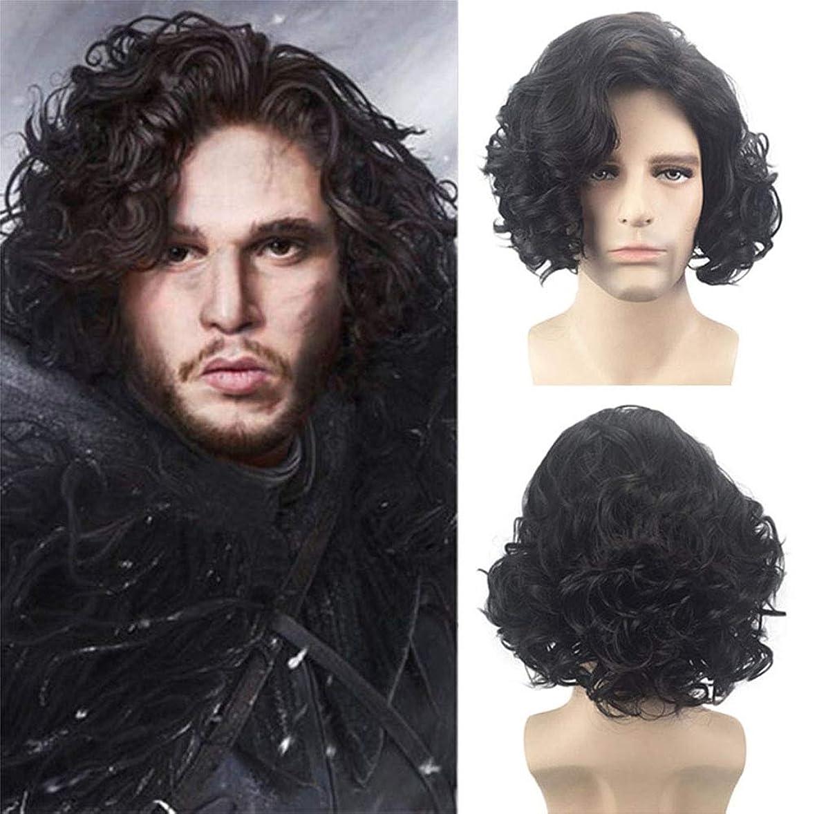 お願いしますポゴスティックジャンプリファイン無料のかつら黒36 cmで短い巻き毛の自然な合成ファッションかつらのための男性用かつら