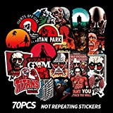 NMLB VSCO Sticker Japan Anime Attack On Titan Cartoon Stickers, Equipaje Laptop Skateboard Car Bicycle Backpack Decal Pegatina, 70 Piezas