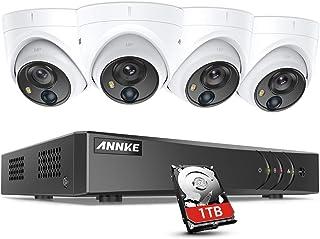 ANNKE 8 Kanal 5MP DVR CCTV Kamerasystem mit PIR Erkennung, 5 in 1 H.265+ mit 1TB HDD, 4 x 2.0MP IP67 wasserdichte Home Security Dome Kameras, Sternenlicht Tag Nachtsicht, E Mail App Alert, einfach DIY