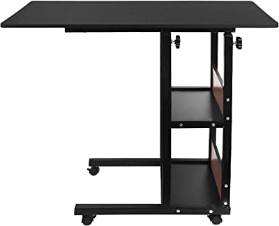 Height Adjustable Bed Side Desk Overbed Table Snack End Table Laptop Stand Food Tray Table Multi-Purpose Under The Sofa Couch Side Table with Lockable Wheels Storage Shelves for Home Room Office Use