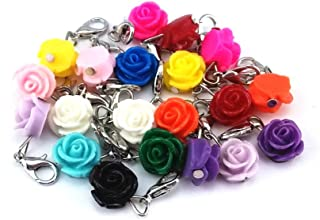 yueton 20pcs Assorted Color Rose Dangle Charms Pendant with Lobster Clasp Jewelry Making Accessory Fit Floating Locket Charms Necklaces