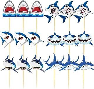 Amosfun 18 Stücke Hai Kuchen Topper Shark Cake Cupcake Picks Meerestier Tortenstecker Tier Kuchendeko für Baby Shower Mädchen Kinder Geburtstag Ozean Party Deko