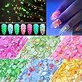 Luminous Nail Rhinestones, 6 Pots Halloween Glow in Dark Fluorescent Nails Gems, Over 330 Pcs NEON Night Polarized light 3D Nail Charms Decoration with Bonus Tweezers