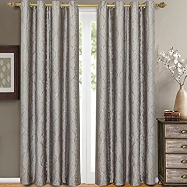 Pair of Two Top Grommet Curtain Panels. A Meek Elegant and Contemporary design Laguna Jacquard Draperies. , Silver, Set of Two 52  by 108  Panels (104  by 108  Pair)
